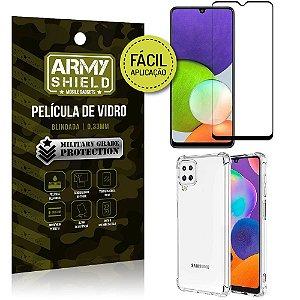 Kit Samsung A22 4G Película 3D Fácil Aplicação + Capa Anti Impacto - Armyshield