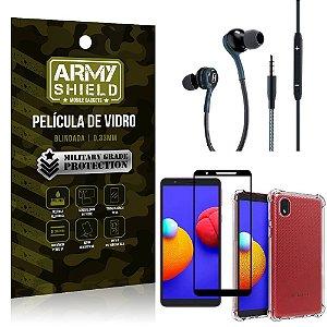 Kit Samsung A01 Core Fone Extreme + Capa Anti Impacto + Película Vidro 3D - Armyshield