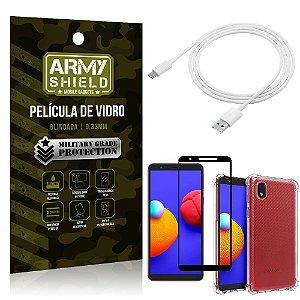 Kit Samsung A01 Core Cabo Micro USB 2m + Capa Anti Impacto + Película Vidro 3D - Armyshield