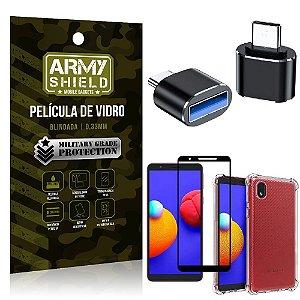 Kit Samsung A01 Core Adaptador OTG Micro USB para USB + Capa Anti Impacto + Película 3D - Armyshield