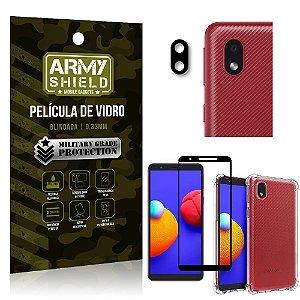 Kit Samsung A01 Core Película de Câmera + Película 3D + Capa Anti Impacto - Armyshield