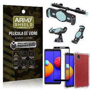 Kit Samsung A01 Core Suporte Veicular 3 em 1 + Película 3D + Capa Anti Impacto - Armyshield
