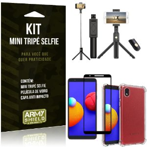 Kit Samsung A01 Core Mini Tripé Selfie Bluetooth para + Capa Anti Impacto + Película 3D - Armyshield