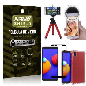 Kit Samsung A01 Core Tripé Flex + Flash Ring + Capa Anti Impacto + Película 3D - Armyshield