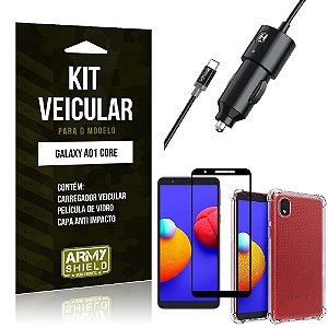 Kit Samsung A01 Core Carregador Veicular + Capa Anti Impacto + Película Vidro 3D - Armyshield