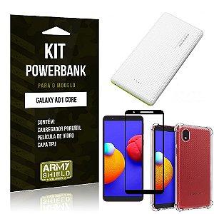Kit Samsung A01 Core Carregador Portátil 5K + Capa Anti Impacto + Película Vidro 3D - Armyshield