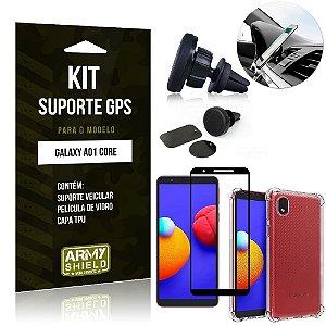 Kit Samsung A01 Core Suporte Veicular Magnético + Capa Anti Impacto + Película Vidro 3D - Armyshield