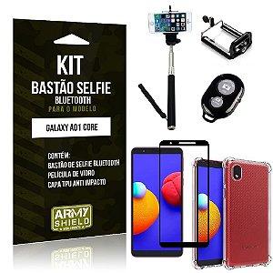Kit Samsung A01 Core Bastão de Selfie Bluetooth + Capinha Anti Impacto + Película 3D - Armyshield