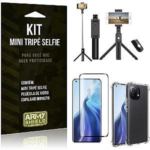 Kit Xiaomi Mi 11 Mini Tripé Selfie Bluetooth para + Capa Anti Impacto + Película 3D - Armyshield