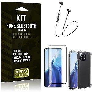 Kit Xiaomi Mi 11 Fone Bluetooth HS-615 + Capa Anti Impacto + Película Vidro 3D - Armyshield