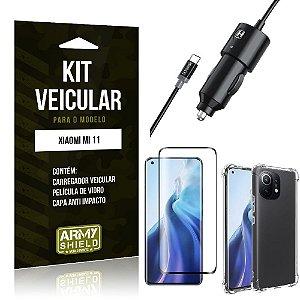 Kit Xiaomi Mi 11 Carregador Veicular Tipo C + Capa Anti Impacto + Película Vidro 3D - Armyshield