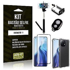 Kit Xiaomi Mi 11 Bastão de Selfie Bluetooth + Capinha Anti Impacto + Película Vidro 3D -Armyshield