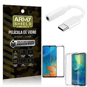 Adaptador Fone Tipo C para P2 Huawei P30 + Capinha + Película 3D - Armyshield