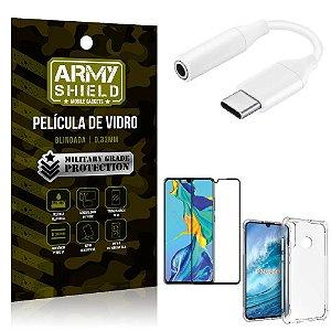 Adaptador Fone Tipo C para P2 Huawei P30 Lite + Capinha + Película 3D - Armyshield