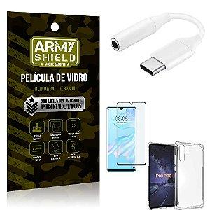 Adaptador Fone Tipo C para P2 Huawei P30 Pro + Capinha + Película 3D - Armyshield