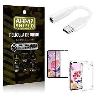 Adaptador Fone Tipo C para P2 LG K51s + Capinha + Película 3D - Armyshield