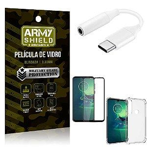 Adaptador Fone Tipo C para P2 Moto G8 Play + Capinha + Película 3D - Armyshield