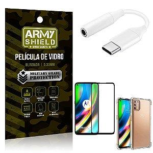 Adaptador Fone Tipo C para P2 Moto G9 Plus + Capinha + Película 3D - Armyshield