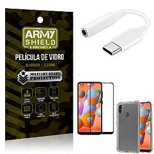 Adaptador Fone Tipo C para P2 Samsung A11 + Capinha + Pelicula 3D - Armyshield