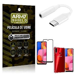 Adaptador Fone Tipo C para P2 Samsung A20S + Capinha + Película 3D - Armyshield