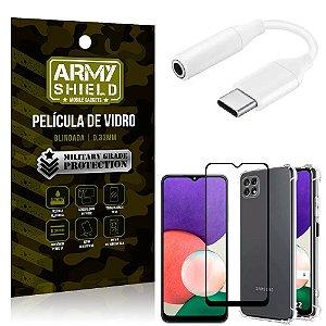 Adaptador Fone Tipo C para P2 Samsung A22 4G + Capinha + Película 3D - Armyshield
