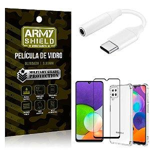Adaptador Fone Tipo C para P2 Samsung A22 5G + Capinha + Película 3D - Armyshield