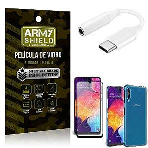 Adaptador Fone Tipo C para P2 Samsung A50 + Capinha + Película 3D - Armyshield