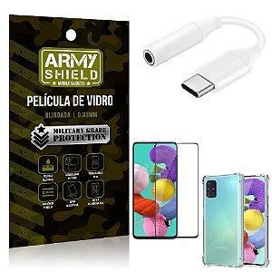 Adaptador Fone Tipo C para P2 Samsung A51 + Capinha + Película 3D - Armyshield