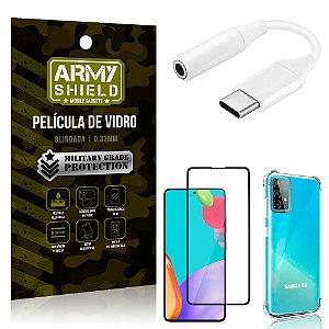 Adaptador Fone Tipo C para P2 Samsung A52 + Capinha + Película 3D - Armyshield