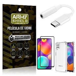 Adaptador Fone Tipo C para P2 Samsung M62 + Capinha + Película 3D - Armyshield