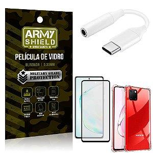 Adaptador Fone Tipo C para P2 Samsung Note 10 Lite + Capinha + Película 3D - Armyshield