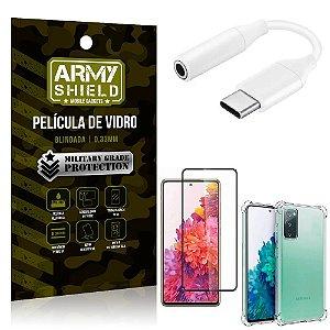 Adaptador Fone Tipo C para P2 Samsung S20 FE + Capinha + Película 3D - Armyshield