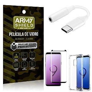 Adaptador Fone Tipo C para P2 Samsung S9 + Capinha + Película 3D - Armyshield