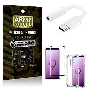 Adaptador Fone Tipo C para P2 Samsung S9 Plus + Capinha + Película 3D - Armyshield