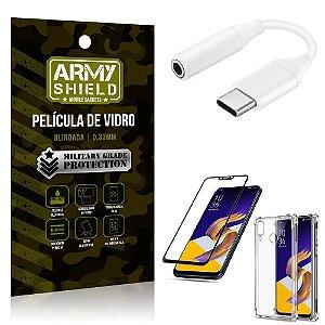 Adaptador Fone Tipo C para P2 Zenfone 5 ZE620KL + Capinha + Película 3D - Armyshield