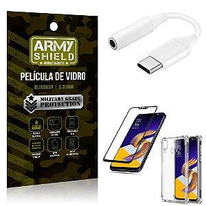 Adaptador Fone Tipo C para P2 Zenfone 5Z ZS620KL + Capinha + Película 3D - Armyshield