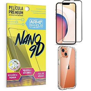 Kit iPhone 13 6.1 Película Premium Nano 9D + Capa Anti Impacto - Armyshield