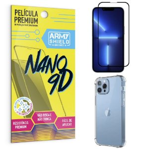 Kit iPhone 13 Pro 6.1 Película Premium Nano 9D + Capa Anti Impacto - Armyshield