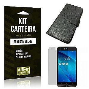 Kit Carteira Asus Zenfone selfie Película de Vidro + Capa Carteira -ArmyShield