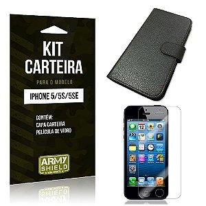 Kit Carteira Iphone 5g/5 se Película de Vidro + Capa Carteira -ArmyShield