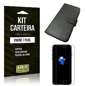Kit Carteira Iphone 7 plus Película de Vidro + Capa Carteira -ArmyShield