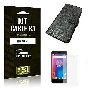 Kit Carteira Lenovo k6 Película de Vidro + Capa Carteira -ArmyShield