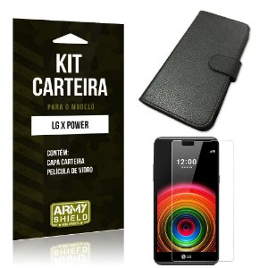 Kit Carteira Lg x power Película de Vidro + Capa Carteira -ArmyShield