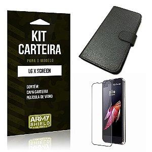 Kit Carteira Lg x screen Película de Vidro + Capa Carteira -ArmyShield