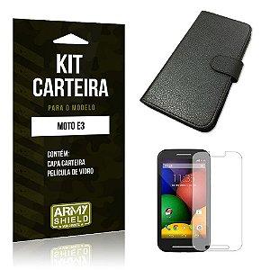 Kit Carteira Motorola moto e3 Película de Vidro + Capa Carteira -ArmyShield