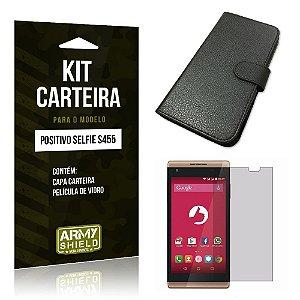 Kit Carteira Positivo s455 Película de Vidro + Capa Carteira -ArmyShield