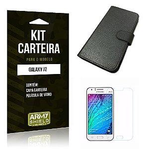 Kit Carteira Samsung j2 2015 Película de Vidro + Capa Carteira -ArmyShield