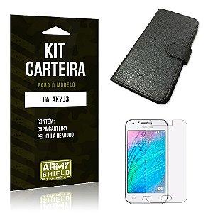 Kit Carteira Samsung j3 2015 Película de Vidro + Capa Carteira -ArmyShield