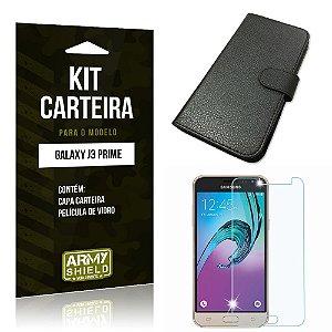 Kit Carteira Samsung j3 prime Película de Vidro + Capa Carteira -ArmyShield