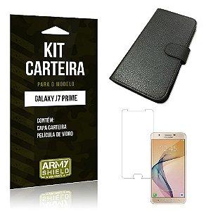 Kit Carteira Samsung j7 prime Película de Vidro + Capa Carteira -ArmyShield